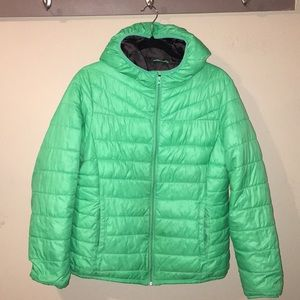 GAP DOWN LT WEIGHT MINT HOODED JACKET SIZE XLG